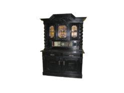 "Black Antique Cabinet, ""Danziger Barock"", Solid Oak"