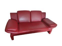 2 Red Designer Sofas, 2,5er-Seater, Leather