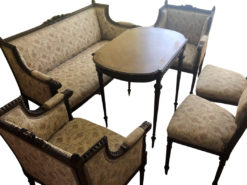 Antique Upholstered Bench, 2 armchairs, Woodtable