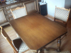 Extendable Wood Dining Table, 4 Upholstered Chairs