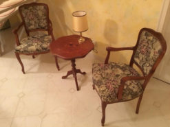 Side Table And Upholstered Chairs, Solid Wood