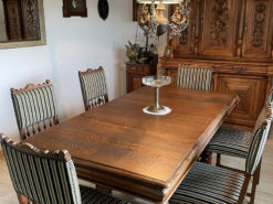 Table And Six Upholstered Chairs, Dining Room