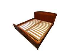 Double Bed Incl. Slatted Frame, Solid Wood, Midcentury