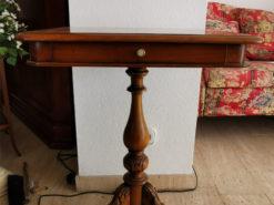 Side Table, Walnut Wood, 1 Drawer