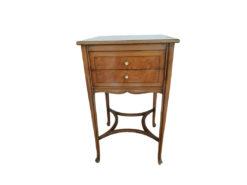 Side Table, 2 Drawers, Walnut Wood