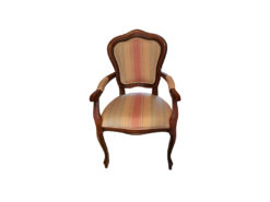 Upholstered Armchair, Solid Wood, Striped Pattern