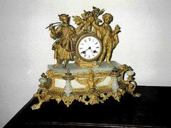 French Fireplace Clock, 1880/90, Zinc Die-Cast