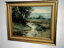 """Painting (""""Moor Landscape With Stream And Group Of Birches""""), 30cm x 38cm"""