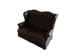 Brown Leather Sofa, 2-Seater, Chesterfield-Style