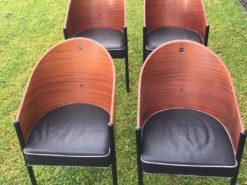 4 Designer Chairs, Wood / Leather, Philip Starck-Replica