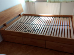 Bed (140 x 210) Including Slatted Frame, Beech, Drawers