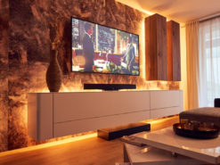 Hülsta, Lowboard, White, Hanging Cabinet, Walnut Wood
