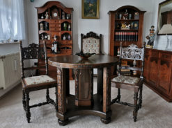 Antique Chairs, Table, Armchair, Tapestry Cover, Solid Wood