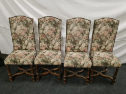 4 Dining Room Upholstered Chairs, Floral Pattern