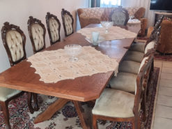 Dining Room Table, 10 Upholstered Chairs, Solid Wood