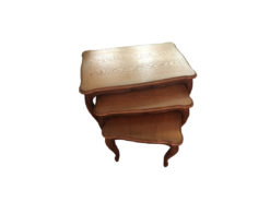 Side Table Set O f 3, Midcentury, Solid Wood