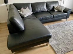 Black Leather Corner Sofa, Living Room