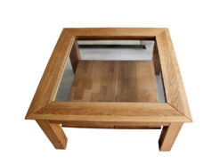 Coffeetable, Oak Wood, Solid, Glass
