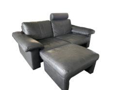 Black Designer Leather Corner Sofa With Armchairs