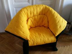 Cassina Designer Armchair, Yellow, Black, Gaetano Pesce