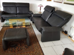 Black Leather Couch Set With Ottoman, Erpo Lugano