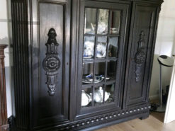 Black Diplay Cabinet, 20th Century, Solid Wood