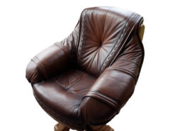 Brown Leather Corner Couch, Armchair, Living Room