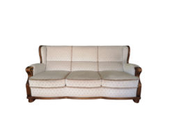 White Upholstered Sofa And Matching Armchair