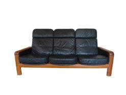 Dyrlund, Black Seather Sofa, 3-Seater, Teakwood, 60s
