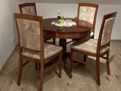 Round Dining Table, 4 Upholstered Chairs, Midcentury